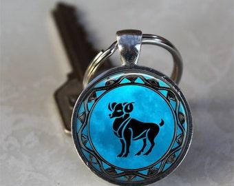Aries Zodiac Astrology Horoscope Glass Dome Keychain (GDKC0345)