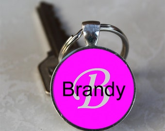 Brandy Name Monogram Handcrafted Glass Dome Keychain (GDNKC0357)