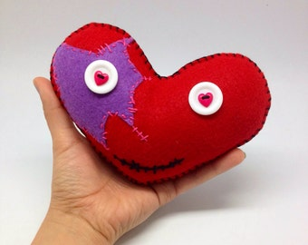 Patched red heart for my Valentine handmade in felt, red felt heart lovers decor, soft heart plushie, stuffed heart
