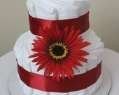 Red Daisy Two-Tier diaper cake