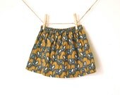Girls Harvest Skirt / Deep Mustard Gold with Blue Flowers / Fine Wale Corduroy / Ready to Ship / 12 months to 3T