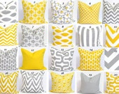 GRAY.YELLOW Pillows.SALE.18x18 inch Decorative Pillow Cover.Housewares.Home Decor.zigzag.Covers.Stripes.Chevrons.Solids.Popular.Cushion.cm