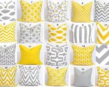 GRAY YELLOW PILLOW. 27x27 inch Pillow.Pillow Cover.Decorative Pillows.Housewares.Gray Euro Pillow.Yellow.Floor Cushion Covers.Oversized. Cm