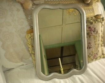 SALE....Up cycled Platinum/Nickel Vintage Mirror, Eclectic, Vanity Mirror