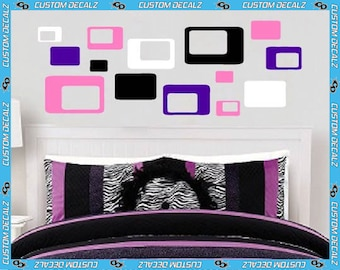 Multi-Size Retro Rectangle pack of 14 Vinyl Wall Decal / Decal Pack / DIY / Bedroom Decal / Large Wall Decal / Teen Decal / Geometric Decal