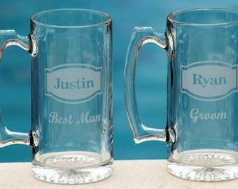 3 Personalized Groomsman Gift, Etched Beer Mug.  Great Bachelor Party Idea,Groomsmen,Best Man,Father of Bride or Groom Gift