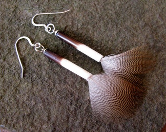 African Porcupine Quill Earrings, Dark Brown and White, with Sterling Silver Ear Wire and Whispy Feather: Unique Tribal Jewelry