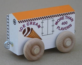 Ice Cream Car with Sherbet roof.  For wooden toy train.