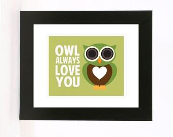 owl always love you wall art 8x10 love print