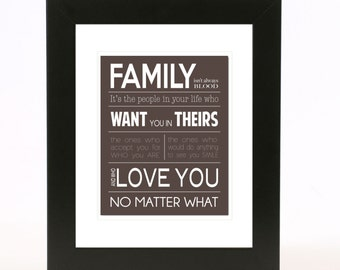 family isn't always blood wall art 8x10 print custom color