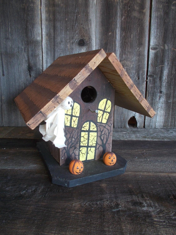Halloween Birdhouse Spooky Ghost Pumpkins Rustic