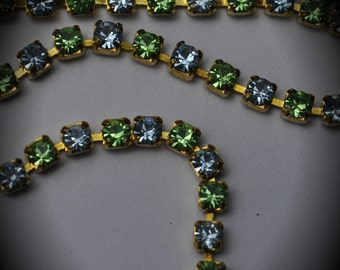 Genuine Brass Swarovski Crystal Rhinestone chain in 18pp Lt Sapphire / Peridot Color
