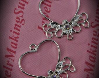 Genuine Silver Plated Swarovski Crystal Heart Chandelier Earrings In Clear AB