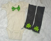 Baby Boy or Girl St Patricks Day Outfit, Onesie with Shamrock Leg Warmers