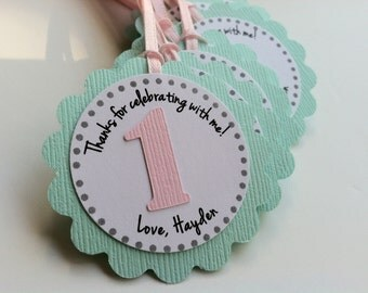 20 Turquoise and Pink First Birthday Tag.  Personalized Tags.  Birthday Favor Tags.  Party Favors.