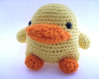 Yellow Crochet Toy Duck Toddler Childrens Toy Easter Basket Filler Stocking Stuffer