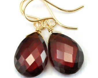 Red Garnet Earrings Faceted Pear Briolettes Teardrop Large Drop 14k gold filled or Sterling silver Natural AAA