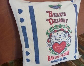 "Hearts Delight Pillow Cover - Grandma's Favorite - Reproduction Floursack Pillow Cover - Valentine Gift - Farmhouse Chic Pillow - 20"""