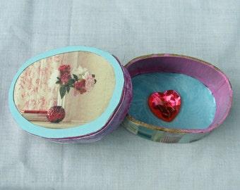 Floral Collage Treasure Trinket Keepsake Box  free shipping