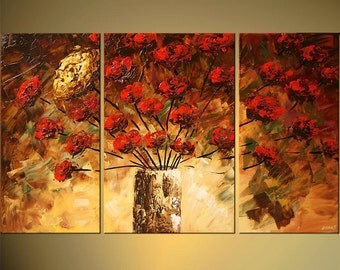 original Large Abstract Yellow Olive Green Red Roses Impasto Landscape Acrylic Floral Painting by Osnat 50x30 Ready to Hang - MADE-TO-ORDER