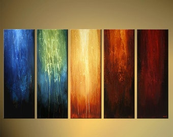 "Original Contemporary Abstract  Painting Large Colorful multi-panel Painting Ready to Hang Stretched by Osnat - Made-To-Order  - 60""x36"""