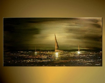 "Olive Green Seascape Painting Original Abstract Acrylic Art Sailboats  by Osnat - MADE-TO-ORDER - 36""x18"""