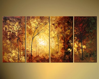 """Landscape Blooming Trees Painting Original Abstract Modern Palette Knife Painting by Osnat - MADE-TO-ORDER - 60""""x30"""""""
