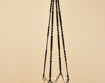 """Hand Crafted Macrame Plant Hanger- Black 52"""" - 54""""(Available in all colors)"""