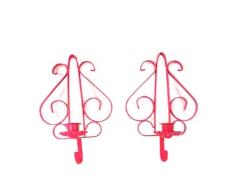 wall sconces, candle holder, hot pink, home decor, wall decor, hanging candle holders, ornate, upcycled home decor
