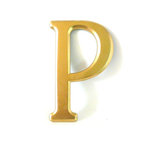 Home Decor Wall Letters : Letter p wall letters metallic gold home decor upcycled by