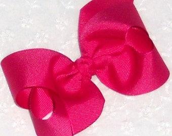 "Fuchsia Bow Fuchsia Pink Hair Bow Bright Pink Valentine Baby Bow Hot Pink Bow Medium 4"" Boutique Bow Newborn Toddler Girls Bow Hair Clip"