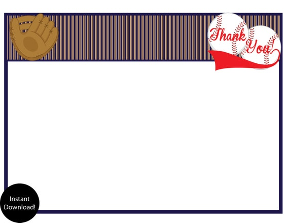 Printable Vintage Baseball Thank You Cards INSTANT DOWNLOAD...by Party Like Paula