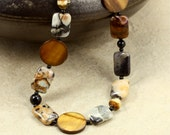 Jasper, Mother of Pearl, and Onyx Necklace, Strand Necklace, Chunky Necklace, Silver Leaf Jasper, Jasper Necklace