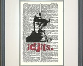 Idjits- Bobby Singer Print on Vintage Book Page, Supernatural, geeky gifts, nerdy, fandom, Supernatural quotes, man cave