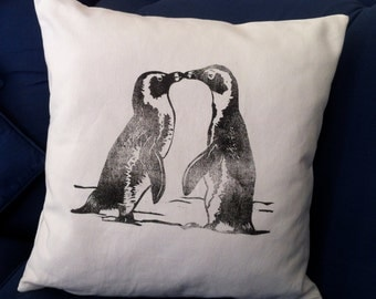 Valentine Kissing Penguins hand printed decorative animal scatter cushion cover on white
