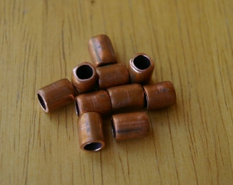 10 Hand Made Pure Real Copper Large Hole Spacer Beads Recycled Repurposed Copper Tubing
