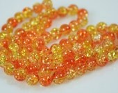 30 Citrus Swirl Art Glass Beads, Yellow and Orange, Crackle design, 8mm round, with gift wrap