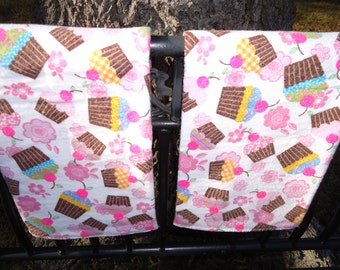 Custom Burp Cloth Set Cupcakes Print Flannel