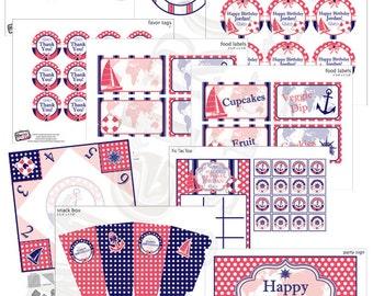 Navy & Coral Nautical Birthday Decorations