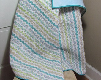 Whole Cloth Chevron Stroller Baby Quilt Blanket Quilted with Hearts