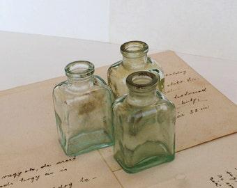 Antique Glass Ink Bottles - Vintage Green Ink Bottles - Set of 3
