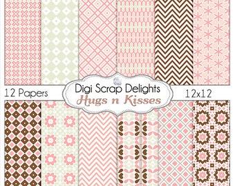Hugs n Kisses Pink  Digital Papers:  Pink,  Gray, Chocolate Brown Chevron, Quatrefoi, Instant Download