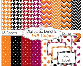 Halloween Digital Papers Black, Orange, Red, Purple, Houndstooth, Chevron,  Fall / Autumn Teacher,  Card Making, Crafts, Chevron Labels