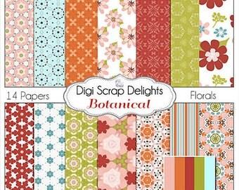 Botanicals Digital Scrapbook Papers Floral Papers in Pink, Aqua, Orange, Red, Green, Instant Download