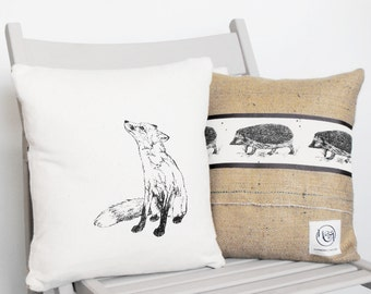 Hand printed Fox & Hedgehog cushion