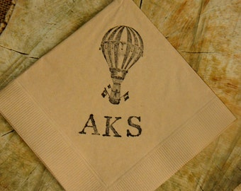 Baby Shower Hot Air Balloon Carnival Circus Personalized Light Burlap Paper Cocktail Napkins with Monogram- Set of 50