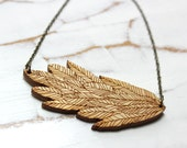 boho feather wood necklace
