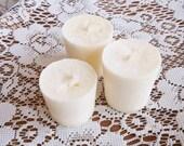 destash hand poured soy wax votive candles--light powder scent--lot of 3