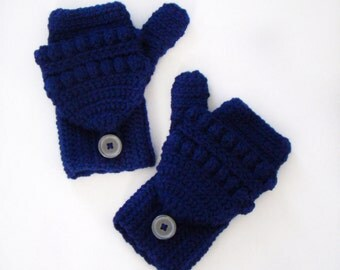 Navy Blue Convertible Fingerless Mittens, Crochet Glittens, Blue Texting Mittens, Women Crochet Gloves, Winter Fashion, Navy Blue Ski MItten