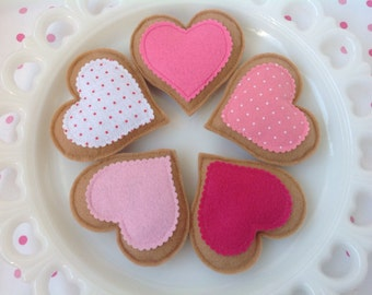 Set of 5 Tea Time Heart Felt Cookies, Tea Party, Tea Time, Kids, Play Food